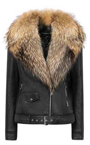 Зимняя кожаная куртка с отделкой мехом енота