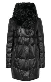 Утепленная кожаная куртка с отделкой мехом козлика La Reine Blanche