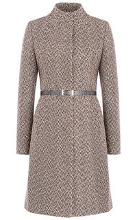 Полушерстяное пальто с поясом из экокожи La Reine Blanche