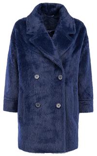 Синее фактурное пальто из ангоры La Reine Blanche