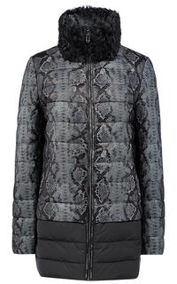Зимняя комбинированная куртка с принтом и воротником из меха козлика La Reine Blanche