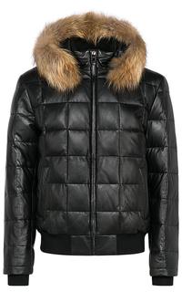 Мужская зимняя кожаная куртка с мехом енота Jorg Weber