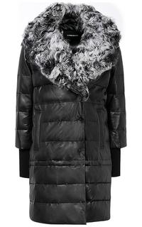 Зимнее кожаное пальто с отделкой мехом козлика La Reine Blanche