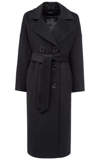 Черное полушерстяное пальто с поясом Gamelia Experience