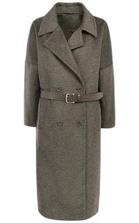 Полушерстяное пальто-халат с поясом из экокожи La Reine Blanche