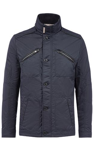 Куртка на синтепоне с отделкой экокожей и трикотажем