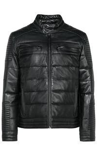 Стеганая кожаная куртка на синтепоне Urban Fashion for men
