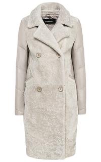 Зимнее пальто из натуральной кожи и овчины La Reine Blanche