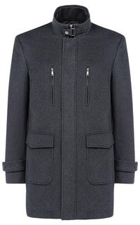 Полушерстяное пальто на синтепоне с отделкой экокожей Al Franco