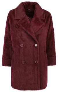 Бордовое фактурное пальто из ангоры La Reine Blanche