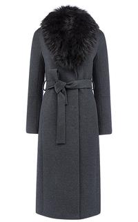 Утепленное шерстяное пальто на мембране RAFT PRO с отделкой мехом енота Pompa