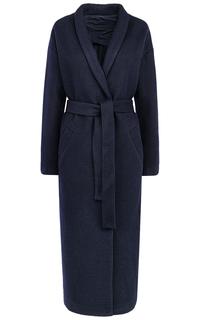 Длинное синее пальто с поясом La Reine Blanche