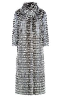 Облегченная шуба из меха лисы на трикотаже Virtuale Fur Collection