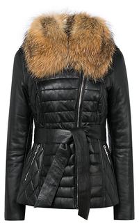 Кожаная куртка на синтепоне с отделкой мехом енота La Reine Blanche
