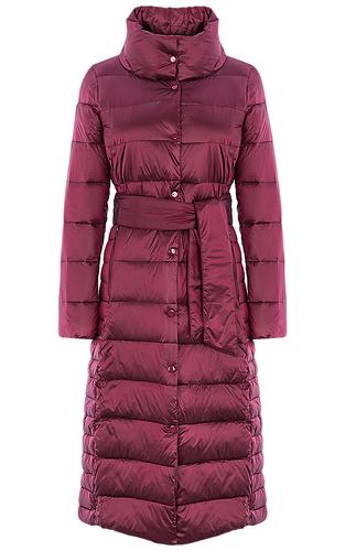 Бордовое пальто на натуральном пуху