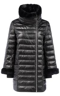 Зимняя кожаная куртка с отделкой мехом кролика La Reine Blanche