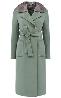 Женское шерстяное пальто на мембране RAFT PRO с отделкой мехом норки Pompa