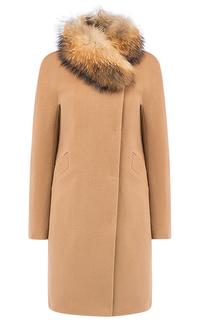 Женское шерстяное пальто на мембране RAFT PRO с отделкой мехом енота Pompa
