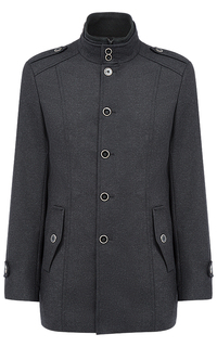 Полушерстяное пальто с отделкой из трикотажа Al Franco