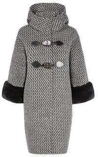 Твидовое пальто с декором из меха кролика La Reine Blanche