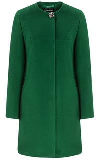 Зеленое полушерстяное пальто La Reine Blanche