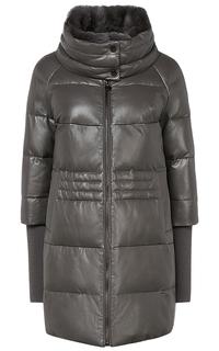 Куртка из натуральной кожи с отделкой трикотажем и мехом кролика La Reine Blanche