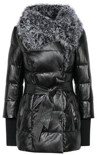 Зимняя куртка из натуральной кожи с воротником из меха козлика La Reine Blanche