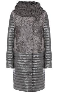 Зимнее кожаное пальто с отделкой мехом козлика и съемным шарфом La Reine Blanche