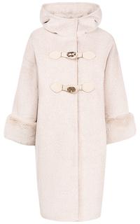 Полушерстяное пальто с декором из меха кролика La Reine Blanche