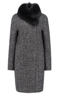 Утепленное полушерстяное пальто на мембране RAFT PRO с отделкой мехом песца Pompa