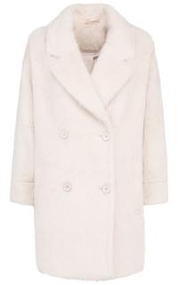 Бежевое фактурное пальто из ангоры La Reine Blanche