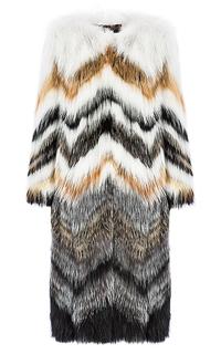 Пальто из вязаного меха лисы Fellicci