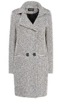 Пальто О-силуэта из крупного контрастного твида La Reine Blanche