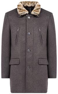 Утепленное полушерстяное пальто с отделкой искусственным мехом Al Franco
