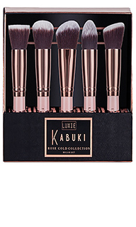 Набор кистей для макияжа rose gold kabuki - Luxie