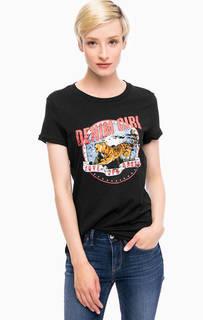 Черная футболка с ярким принтом Tom Tailor Denim