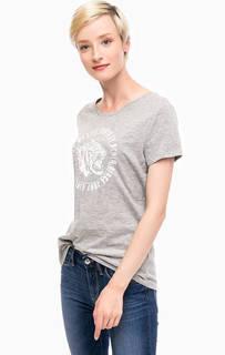 Серая хлопковая футболка с принтом Tom Tailor Denim