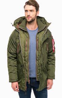 Куртка цвета хаки с ветрозащитной планкой Alpha Industries