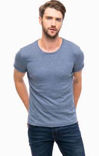 Синяя футболка с отворотами на рукавах Mavi