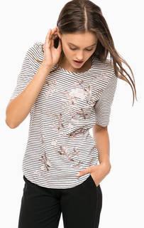 Хлопковая футболка с декоративной отделкой Olsen