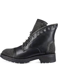 Кожаные ботинки с отделкой стразами Felmini