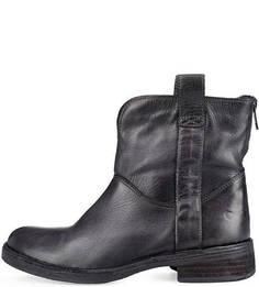 Черные кожаные полусапоги Felmini