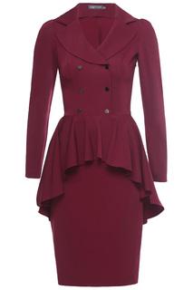 Платье приталенное с баской, отложной воротник Grey Cat