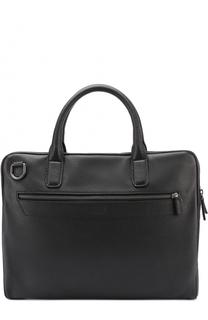 Кожаная сумка для ноутбука с двумя отделениями на молнии Armani Collezioni