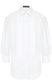 Хлопковая блуза с оборками и укороченными рукавами Dolce & Gabbana