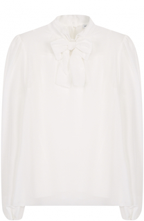 Шелковая блуза с бантом и топом Dolce & Gabbana