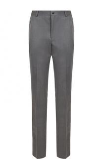 Шерстяные брюки прямого кроя с контрастной отделкой Thom Browne