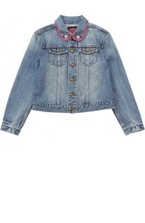 Укороченная куртка из денима с принтом и декоративной вышивкой Juicy Couture