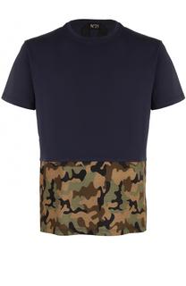 Хлопковая футболка с контрастной отделкой No. 21