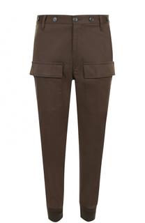 Хлопковые брюки карго с манжетами на резинке Moncler